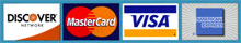 We accepts Visa, Mastercard, Discover and American Express
